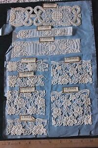 15 Antique 19thc French Hand Loomed Embroideries With Tags 2 Sides Dolls Design