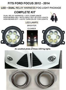 Led Fog Light Kit For Fits Ford Focus 2012 2014 Lamps Bezels Dual Relay Harness