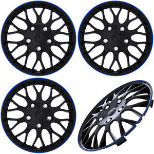 4pc Set 15 Inch Ice Black Blue Trim Hub Caps Covers For Steel Wheel Cover Cap