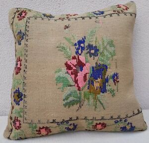 Needlepoint Tapestry Aubusson Handwoven Floral Pink Kilim Pillow Cover 20 X20