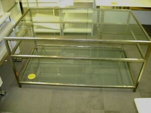 Retail Stainless Steel Glass Display 3 Shelf Table