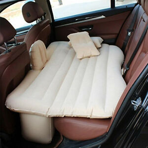 Beige Auto Car Inflatable Air Cushion Seats Rest Bed Sleep Mattress Outdoor Sofa