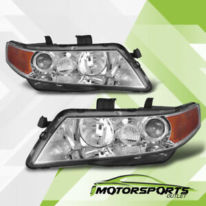 2004 2008 Acura Tsx Chrome Projector Factory Style Headlights Pair 2005 2006