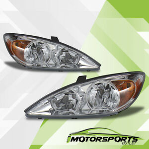 For 2002 2003 2004 Toyota Camry Sedan Factory Style Chrome Amber Headlights Set