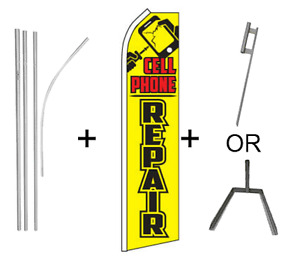 Cell Phone Repair Kit 16ft Pole Set Super Flag Grnd Spike Or Tire Base Mount