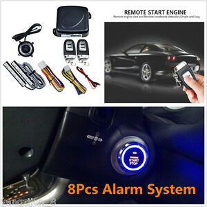 Pke passive Keyless Entry Car Alarm System Push Button Engine Starter W Remotes