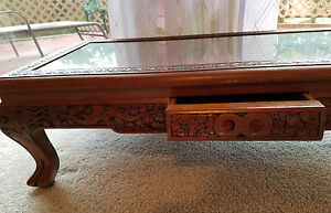 Vintage Chinese Asian Intricate Carved Teak Wood Low Bench Coffee Kang Table