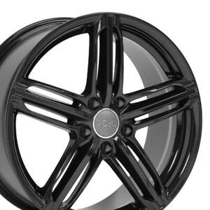 18x8 Wheels Fit Audi Vw Rs6 Blk Rims W1x Set