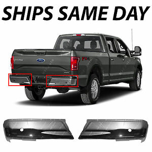 New Chrome Steel Left Right Rear Bumper Ends For 2015 2018 Ford F150 W Park