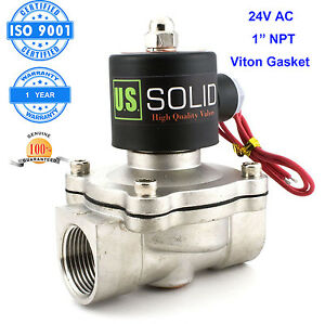 1 Stainless Steel Electric Solenoid Valve 24v Ac N c Air Water Fuel Viton