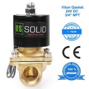 U S Solid 3 4 Brass Electric Solenoid Valve 24v Dc N c Air Water Fuel Viton