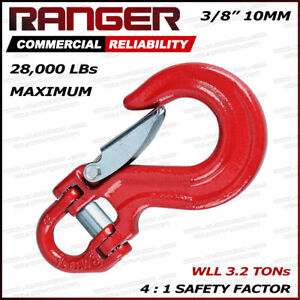 Ranger 28 000lbs Half Link Clevis Safety Latch Swivel Winch Hook Wll 3 2 Tons