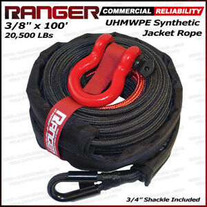 Ranger 3 8 X 100 Uhmwpe Jacket Synthetic Winch Rope 20 500lbs With Rock Guard