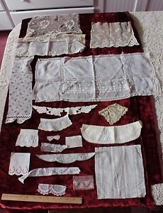 French Antique Vintage Embroidery Lace Doll Bundling Fabric 19 Pieces