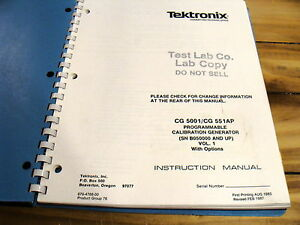 Tektronix Cg5001 Cg551ap Programmable Calibration Generator Instruction Manual