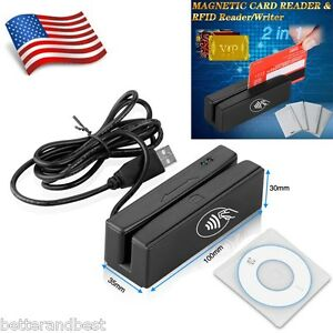 Us Stock 2in1 Usb 3track Magnetic Stripe ic Chip Credit Card Reader writer Swipe