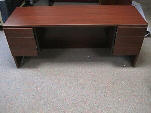 Office To Go Cherry Wood Executive Rectangular Computer Desk 4 Filing Drawer