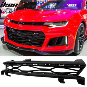 Fits 16 18 Chevy Camaro 2dr Zl1 Style Glossy Black Upper Grille Abs