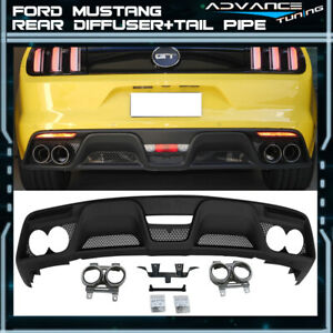 Fits 15 17 Ford Mustang Gt350 Style Rear Bumper Diffuser With Tail Pipe Pp