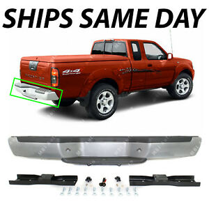 New Silver Steel Rear Bumper Assembly For 2001 2004 Nissan Frontier W Gray Pads