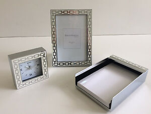 Reed Barton 3 pc Silver Link white Desk Set Frame Memo Pad Clock