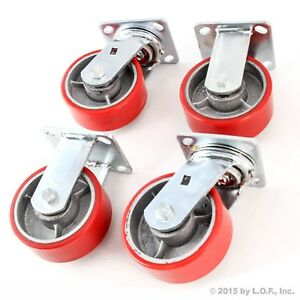 4 Red Wheel Caster 5 Wheels 2 Swivel Heavy Duty Iron Hub No Mark Casters New