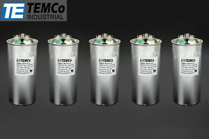 Temco 80 5 Mfd Uf Dual Run Capacitor 370 440 Vac Volts 5 Lot Ac Motor Hvac 80 5