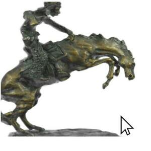 Bronze Sculpture Frederic Remington Cowboy Horse Rodeo Old West Western Figure