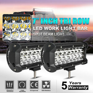 2x 7 In 288w Tri Row Led Work Light Bar Offroad 4x4 Atv Trucks Spotlight 9 Vs 12