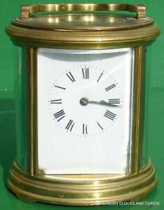 Antique French Couillet Freres Oval Corniche 8 Day Striking Carriage Clock