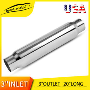 20 Length Straight Through Performance 3 Inlet Outlet Muffler Silencer Round