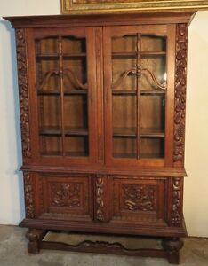 French Carved Quartersawn Oak Cabinet Bookcase