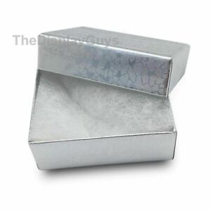 Us Seller 100 Pcs 1 7 8 x1 1 4 x5 8 Silver Cotton Filled Jewelry Gift Boxes
