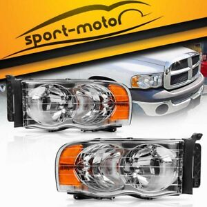 Pair Front Headlight Assembly Kit For 2002 2005 Dodge Ram 1500 2500 3500 Pickup