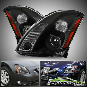 For 2004 2005 2006 Nissan Maxima Black Jdm Factory Style Replacement Headlights