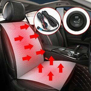 Pair Car Universal Heated Carbon Fiber Seat Heater Pad 12v W Hi Lo Switch Kit