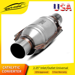 53005 Universal High Performance Catalytic Converter Round 2 25 Inlet Outlet