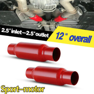 Pair Sport Race Performance 2 5 Inlet 2 5 Outlet 12 Long Exhaust Mufflers