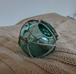 Vintage Antique Authentic Japanese Glass Fishing Floats Buoy Ball Roped Small