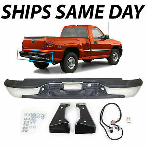 New Chrome Steel Rear Bumper For 1999 2004 Chevy Silverado Gmc Sierra Step Side