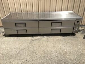 True 96 Stainless Steel Low Boy Refrigerated Chef Base Model Trcb 96