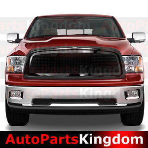 09 12 Dodge Ram 1500 Gloss Black Packaged Front Mesh Grille shell Replacement
