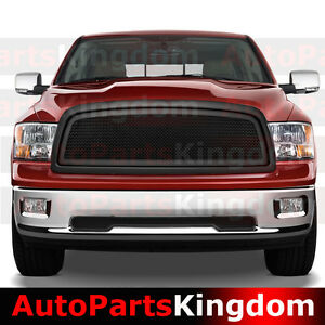 09 12 Dodge Ram 1500 Matte Black Packaged Front Mesh Grille Shell Replacement