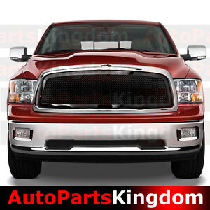 09 12 Dodge Ram 1500 Truck Front Hood Black Mesh Grille Chrome Shell Replacement