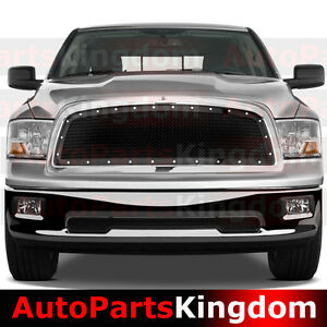 09 12 Dodge Ram 1500 Truck Front Hood Gloss Black Mesh Grille Rivet Chrome Shell