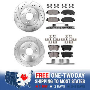 Front Rear Drilled Slotted Brake Rotors And Ceramic Pads 06 11 Honda Civic Ex