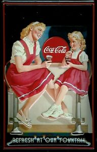Coca Cola Our Fountain Metal Sign Signboard 3D Embossed Arched Tin 7 7/8x11