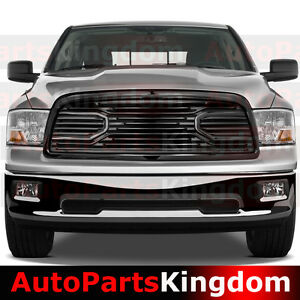 Big Horn Gloss Black Packaged Grille Shell Replacement For 09 12 Dodge Ram 1500