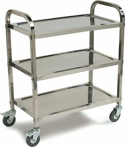 Carlisle Uc4031529 Knockdown Stainless Steel 3 Shelf Utility Service Cart 40