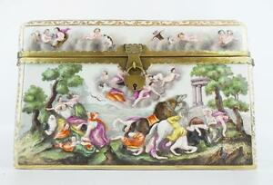 9 Antique Capodimonte Casket Hinged Box The Best Putti Dogs Horses Boar